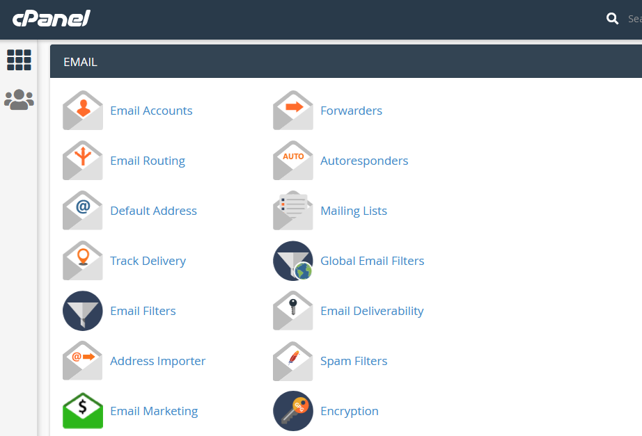 cpanel main emails sections
